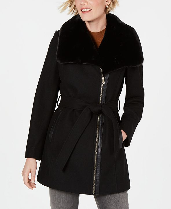 INC International Concepts INC Asymmetrical Faux-Fur-Collar Belted Coat, Created for Macy's