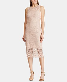Floral-Lace Sleeveless Dress