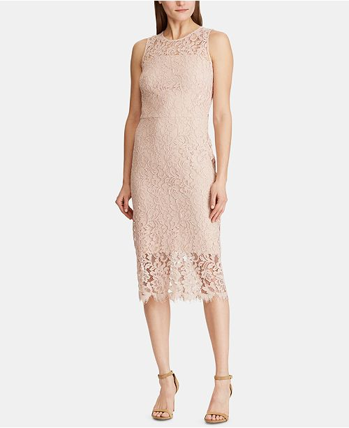 Lauren Ralph Lauren Floral-Lace Sleeveless Dress