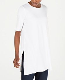 Eileen Fisher Elbow-Sleeve Round-Neck Tunic, in Regular and Petite