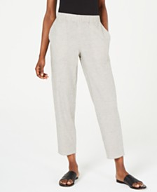 Eileen Fisher Striped Tapered Pull-On Pants