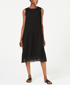 Eileen Fisher Textured Chiffon Sleeveless Dress