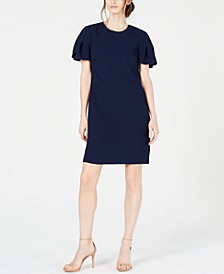 Jacinta Petal-Sleeve Crepe Dress