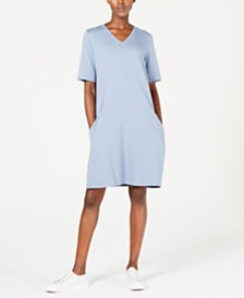 Eileen Fisher V-Neck A-Line Shift Dress, Regular & Petite