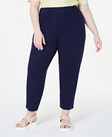 Eileen Fisher Plus Size Organic Tapered Pull-On Pants