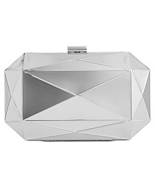 I.N.C. Silver Shiny Celeste Clutch, Created for Macy's
