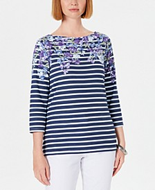 Petite Floral Striped Boat-Neck Top, Created for Macy's