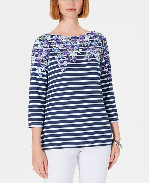 Karen Scott Petite Floral Striped Boat-Neck Top, Created for Macy's