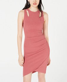 Crave Fame Juniors' Cutout Bodycon Wrap Dress