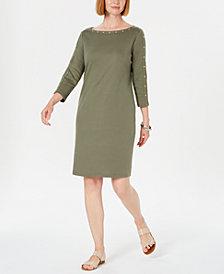 Karen Scott Cotton Studded 3/4-Sleeve Shift Dress, Created for Macy's