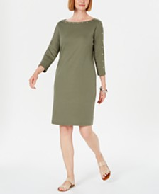Karen Scott Petite Boat-Neck Studded Dress, Created for Macy's