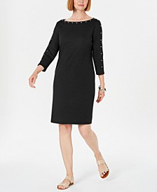 Petite Boat-Neck Studded Dress, Created for Macy's