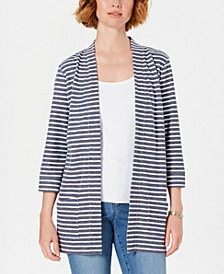 Sport Striped 3/4-Sleeve Open-Front Jacket, Created for Macy's