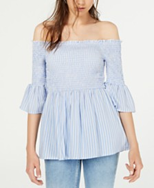 Crave Fame Juniors' Printed Off-The-Shoulder Babydoll Top