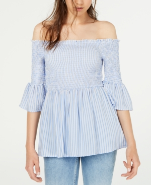 Almost Famous Crave Fame Juniors' Printed Off-The-Shoulder Babydoll Top In Blue
