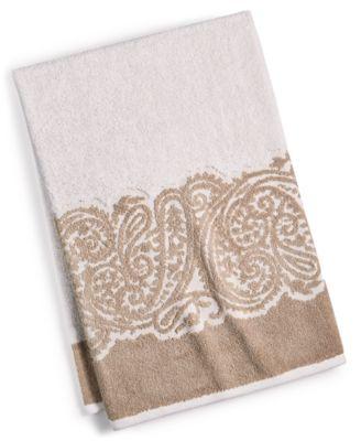 "CLOSEOUT! Gianna Paisley Border Cotton 30"" x 54"" Bath Towel, Created for Macy's"