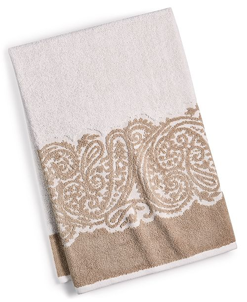 "Martex  CLOSEOUT! Gianna Paisley Border Cotton 30"" x 54"" Bath Towel, Created for Macy's"