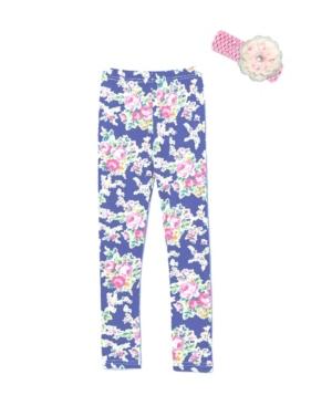 Mi Amore Gigi Little and Big Girls Floral Leggings Includes Crochet Flower Headband