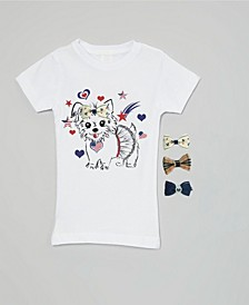 Big Girls Interchangeable Bow 3D Patriotic Puppy Graphic Top