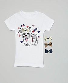 Interchangeable Bow 3D Patriotic Puppy Graphic Top