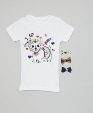 Mi Amore Gigi Big Girls Interchangeable Bow 3D Patriotic Puppy Graphic Top
