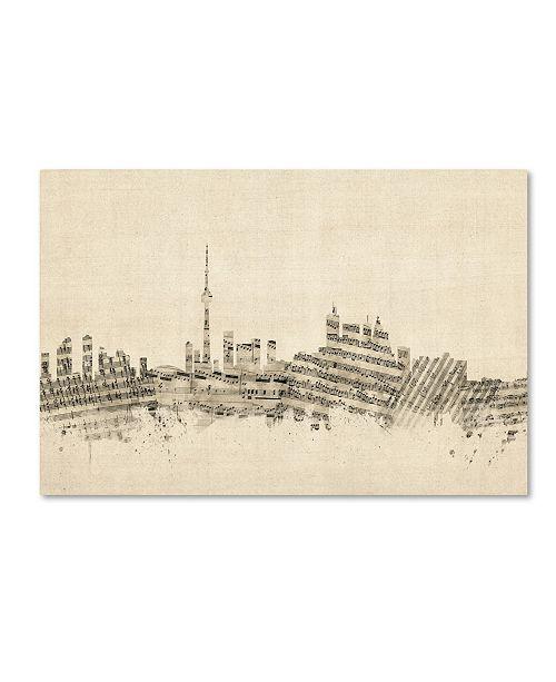 "Trademark Global Michael Tompsett 'Toronto Canada Skyline Sheet Music' Canvas Art - 12"" x 19"""