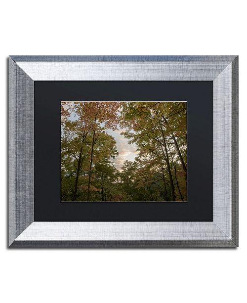 """Trademark Global Kurt Shaffer 'Autumn Window to a Sunset' Matted Framed Art - 11"""" x 14"""""""