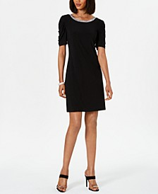 Embellished Puff-Sleeve Shift Dress