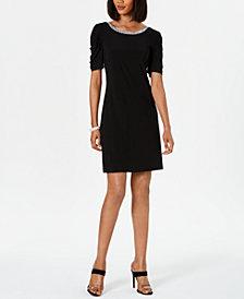 MSK Embellished Puff-Sleeve Shift Dress