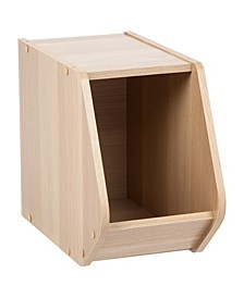 Modular Wood Stacking Open Storage Box, Narrow