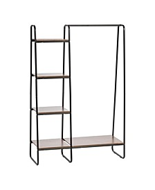 Metal Garment Rack With Wood Shelves