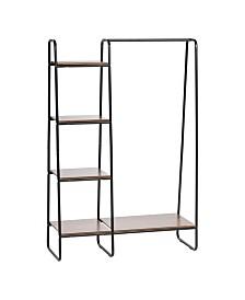 Metal Garment Rack With Wood Shelves