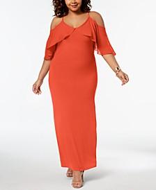 Plus Size Chiffon Cold-Shoulder Maxi Dress