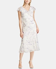 Lauren Ralph Lauren Floral-Print Georgette Cap-Sleeve Dress