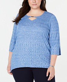 Alfred Dunner Plus Size Lake Tahoe Textured Keyhole Top