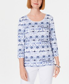 Karen Scott Petite Ikat Printed Top, Created for Macy's
