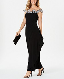 Petite Off-The-Shoulder Illusion-Neck Gown