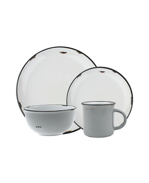 Canvas Home Tinware 16 Piece Dinnerware Set, Service for 4