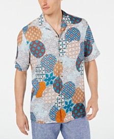 Tasso Elba Men's Renzo Geo-Print Camp Collar Silk Shirt, Created for Macy's