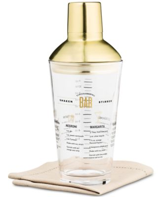 Recipe Cocktail Shaker with Gold-Tone Lid & Accents, Created for Macy's