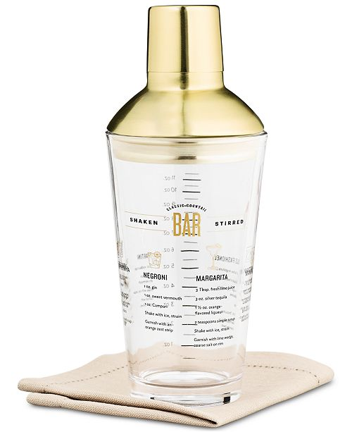 Martha Stewart Collection CLOSEOUT! Recipe Cocktail Shaker with Gold-Tone Lid & Accents, Created for Macy's