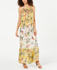 Style & Co Printed Embroidered Maxi Dress, Created for Macy's