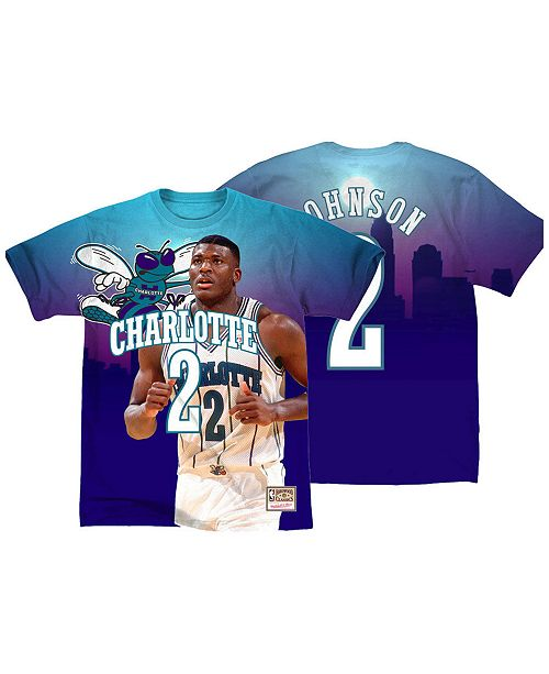 Mitchell & Ness Men's Larry Johnson Charlotte Hornets City Pride Name And Number T-Shirt