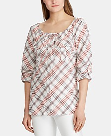 Lauren Ralph Lauren Plaid-Print Tie-Neck Top