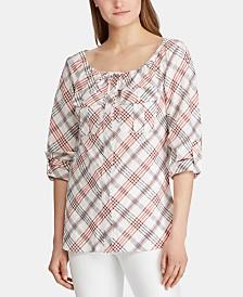 Lauren Ralph Lauren Plaid-Print Tie-Neck Top