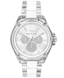 Michael Kors Women's Wren Clear Acetate  White Silicone Bracelet Watch 42mm