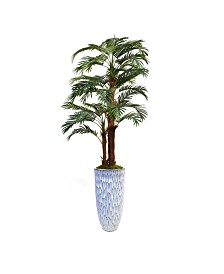 "Laura Ashley 85.5"" Palm Tree Faux decor with Burlap Kit in Resin Planter"