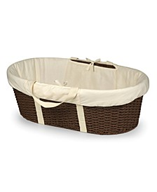 Unisex Wicker-Look Woven Baby Moses Basket With Bedding