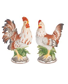 Fitz & Floyd  Farmstead Home Rooster and Hen Figurines, Set of 2