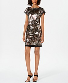 Cap-Sleeve Animal-Print Dress